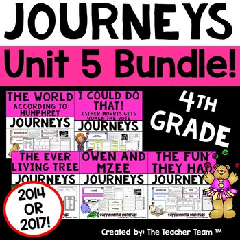 Journeys 4th Grade Unit 5 Supplemental Activities & Printables CC 2014 or 2017