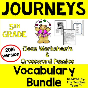 Journeys 5th Grade Cloze and Crossword Puzzles Bundle Units 1-6 2014 or 2017
