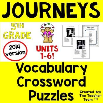 Journeys 5th Grade Crossword Puzzle Bundle Units 1-6 Common Core 2014