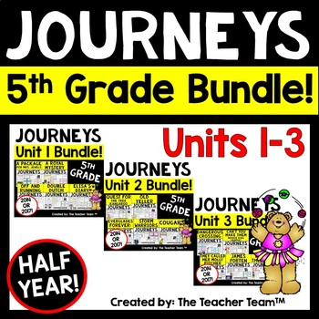 Journeys 5th Grade Unit 1-3 Half Year Supplemental Activities & Printables 2014
