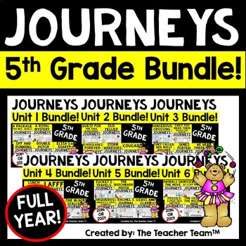 Journeys 5th Grade Unit 1-6 Full Year Bundle Supplemental Materials 2014 or 2017