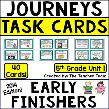 Journeys 5th Grade Unit 1 Task Cards Supplemental Materials CC 2014