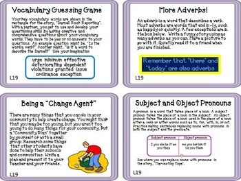 Journeys 5th Grade Unit 4 Task Cards Supplemental Materials CC 2014