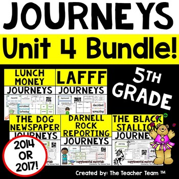 Journeys 5th Grade Unit 4 Supplemental Activities & Printables CC  2014 or 2017