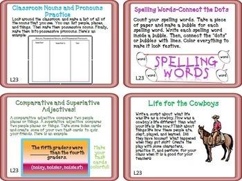Journeys 5th Grade Unit 5 Task Cards Supplemental Materials CC 2014