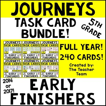 Journeys 5th Grade Units 1-6 Early Finishers Task Cards 2014