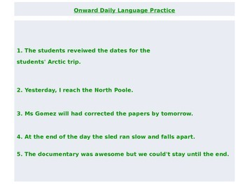 Journeys Common Core 6th Grade Daily Language Practice: Unit 3 Power Point