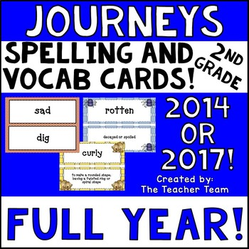 Journeys 2nd Grade Vocabulary and Spelling  Word Cards 2014