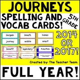 Journeys 5th Grade Vocabulary Cards & Spelling Word Cards | 2014 or 2017