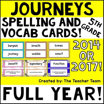 Journeys 5th Grade Vocabulary and Spelling Word Cards 2014