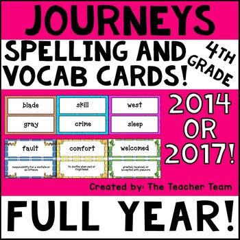Journeys 4th Grade Vocabulary and Spelling Word Cards 2014