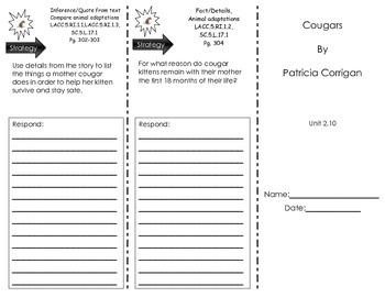 Journeys Common Core- Cougars by Patricia Corrigan- Tri-fold