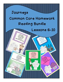 Journeys Common Core First Grade Homework Bundle Lessons 6-10