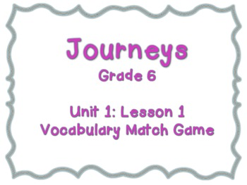 Journeys Common Core: Grade 6: Unit 1: Lesson 1 Vocabulary