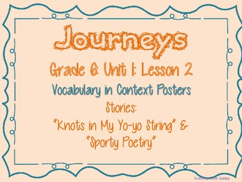 Journeys Common Core: Grade 6: Unit 1: Lesson 2 Vocabulary in Context Posters