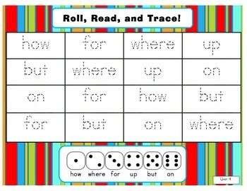 Journeys Common Core Kdg. High Freq. Word (Unit 4) Roll, Read, & Trace Game!