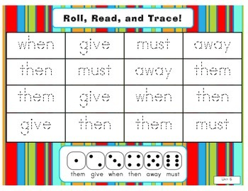 Journeys Common Core Kdg. High Freq. Word (Unit 5) Roll, Read, & Trace Game!