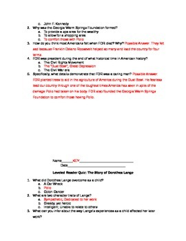 Journeys Common Core - Lesson 19 - Leveled Reader Quizes & Answer Keys
