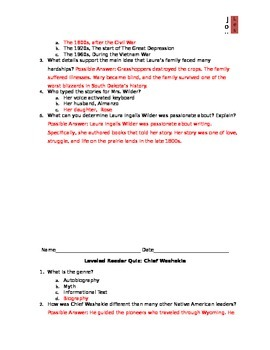 Journeys Common Core - Lesson 20 - Leveled Reader Quizes & Answer Keys