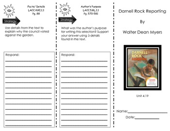 Journeys Common Core Trifold for Darnell Rock Reporting by Walter Dean Myers