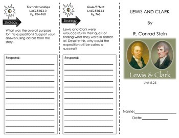 """Journeys Common Core - Trifold for """"Lewis and Clark"""" by R. Conrad Stein- L 5.25"""