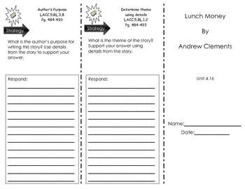 Journeys Common Core Trifold for - Lunch Money by Andrew Clements