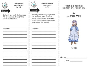 "Journeys Common Core - Trifold for ""Rachel's Journal"" by Marissa Moss- L 5.24"