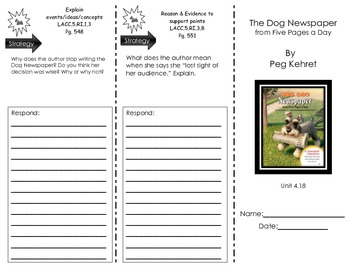 "Journeys Common Core Trifold for ""The Dog Newspaper"" by Peg Kehret -- Unit 4.18"