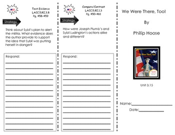 Journeys Common Core Trifold for Unit 3.15 - We Were There, Too! by Philip Hoose