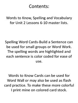 Journeys Common Core Unit 2 Lessons 6-10 Master Lists and Activities