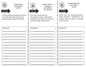 Journeys Common Core Unit 3.12 Trifold - Molly Pitcher by Anne Rockwell
