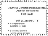 Journeys Comprehension and Essential Question Worksheets - Unit 1