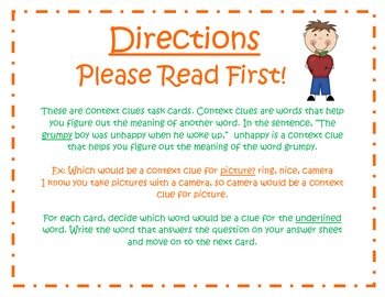 Context Clues Task Cards for Journeys Grade 2