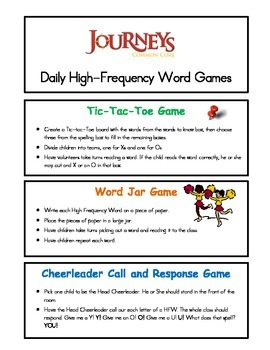 Journey's Daily High Frequence Word Games