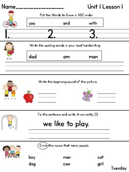 Journeys Daily Language 1st Grade Unit 1