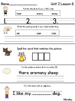 Journeys Daily Language 1st Grade Unit 2