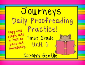 Journeys Daily Proofreading Practice Unit 1 First Grade