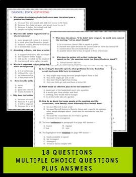 Journeys Darnell Rock Reporting Comprehension Quiz
