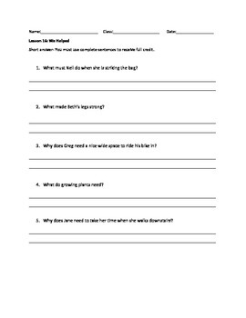 Journeys Decodable Reader Quizzes Lesson 16 (Second Grade)