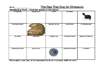 Journeys Dog that Dug for Dinosaurs Vocabulary Hunt