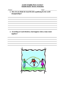 "Journey's ""Double Dutch"" Comprehension & Vocabulary Worksheet"