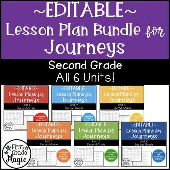 Journeys EDITABLE Lesson Plans Second Grade THE BUNDLE!