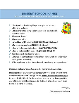 Back to School! Supply List - editable template