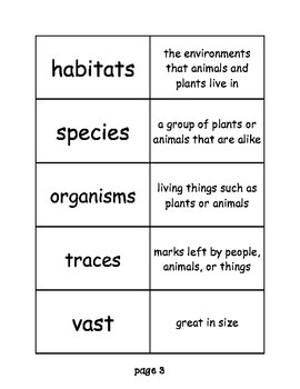 """Journeys: """"Ecology for Kids"""" Differentiated Vocabulary Match Game"""