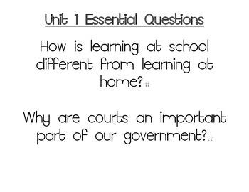Journeys Essential Questions, Grade 3 Unit 1