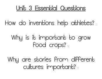 Journeys Essential Questions, Grade 3 Unit 3