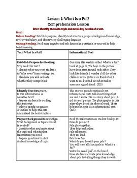 Journeys: What Is a Pal? Explicit Instruction Comprehension Lesson 1