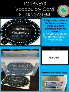 Journeys FILING SYSTEM for Vocabulary Cards