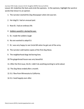 Journeys Fifth Grade, Graphic Organizers / Writing Exercises, Lesson 16-20 HMH