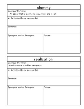 Journeys Fifth Grade Vocabulary Journal Pages Lesson 9: 2012 and 2014 editions